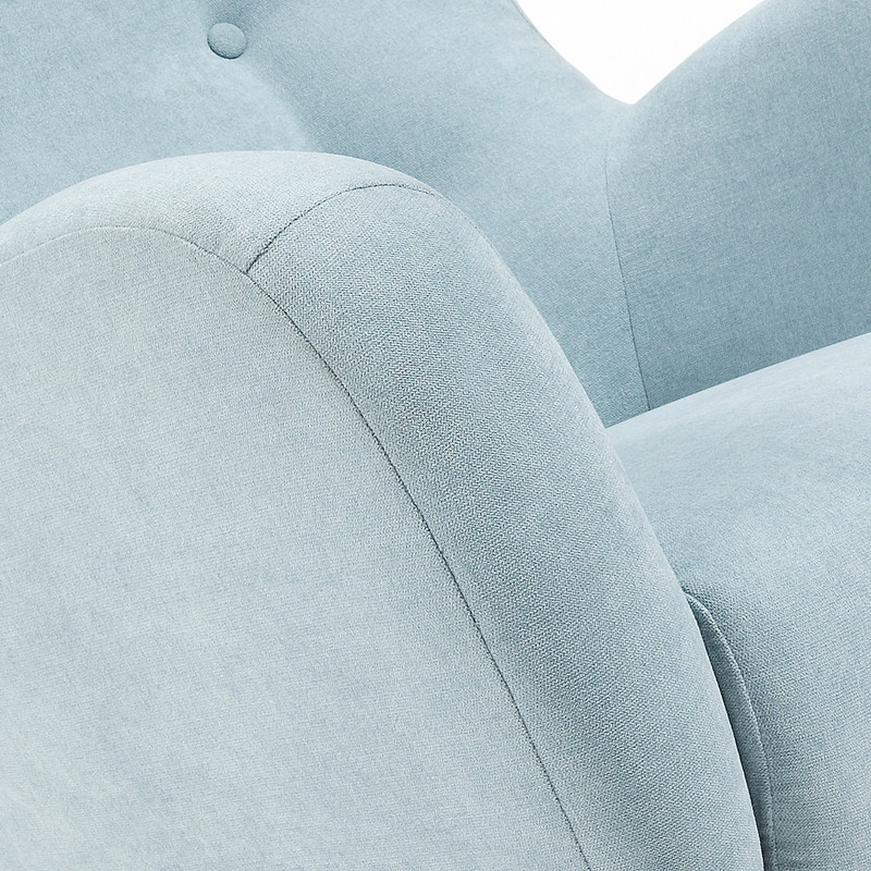 【SALE】PASSO Armchair natural wooden legs, fabric light blue