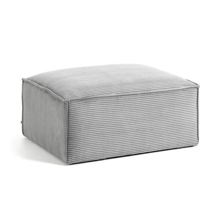 Dark grey velveteen Blok pouffe 90 x 70 cm