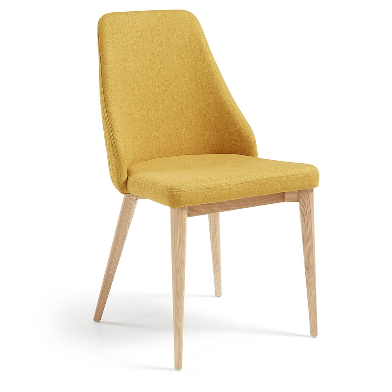 ROXIE Chair natural wood quilted fabric mustard