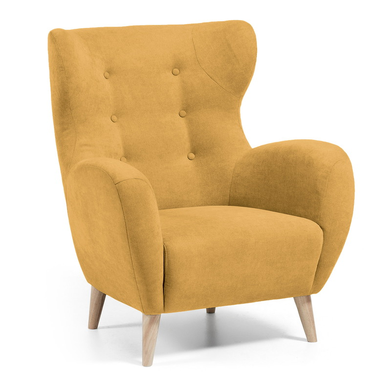 【SALE】PASSO Armchair natural wooden legs, fabric mustard
