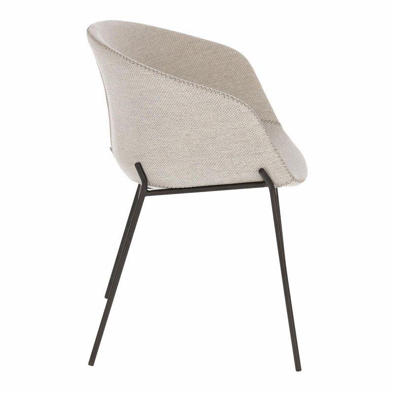 ZADINE Armchair metal black fabric light grey