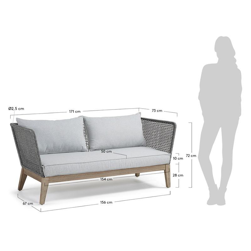 RELAX Sofa 3 seats acacia grey wash rope dark grey