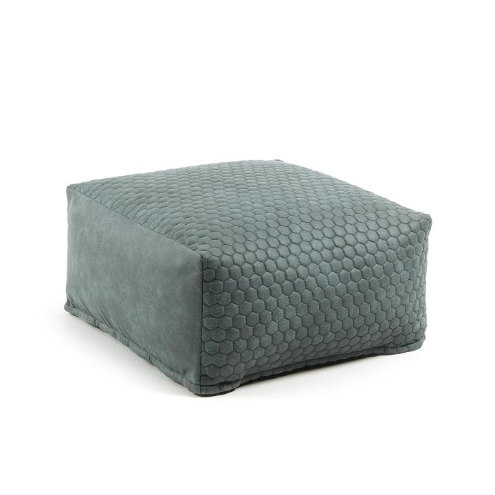 DAMIAN Pouf 60x60 quilted fabric green