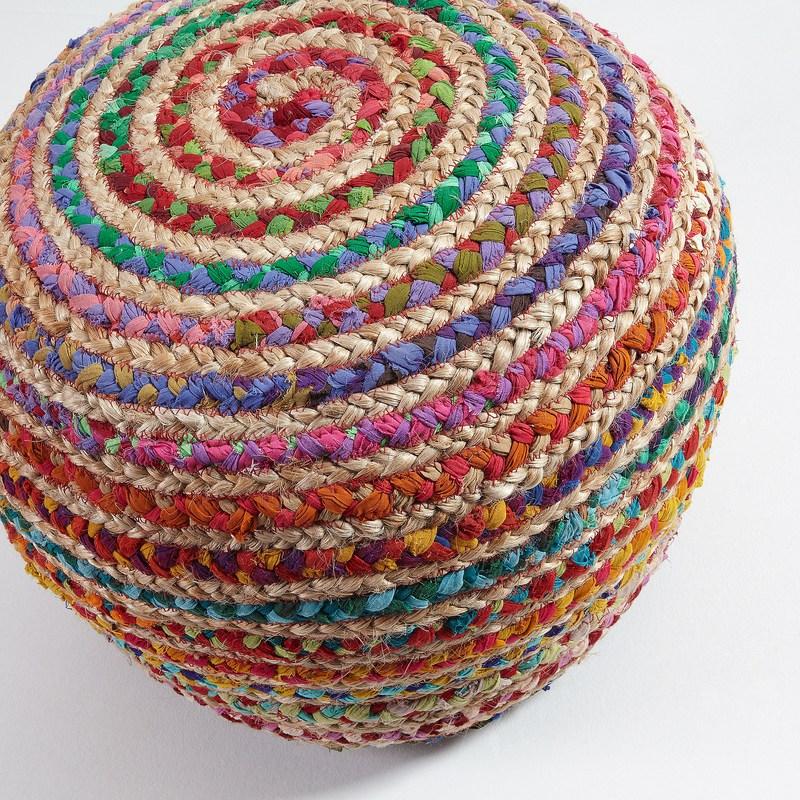 SAMY Pouf jute round 50x35 natural multicolor