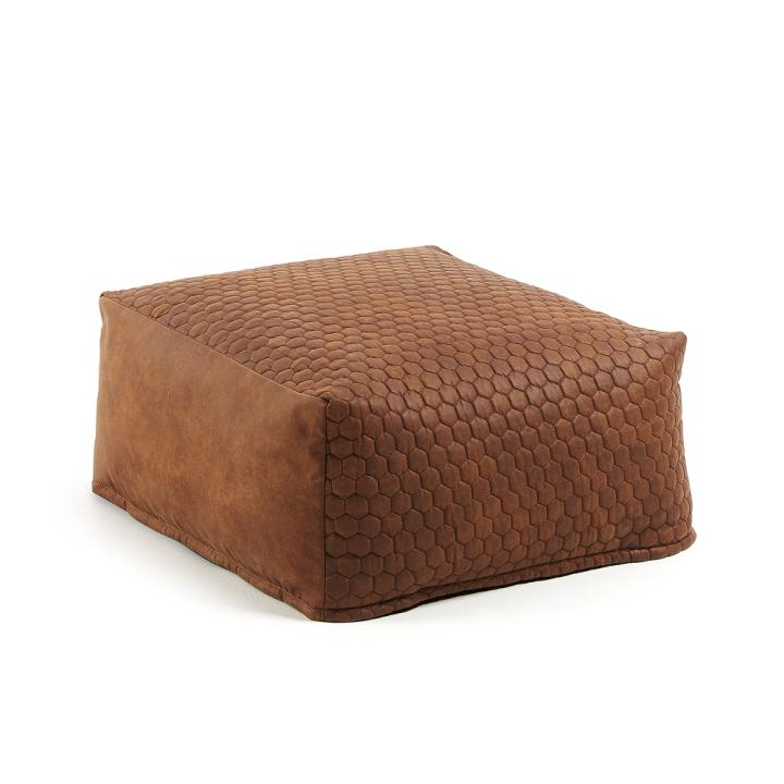 DAMIAN Pouf 60x60 quilted fabric rust brown