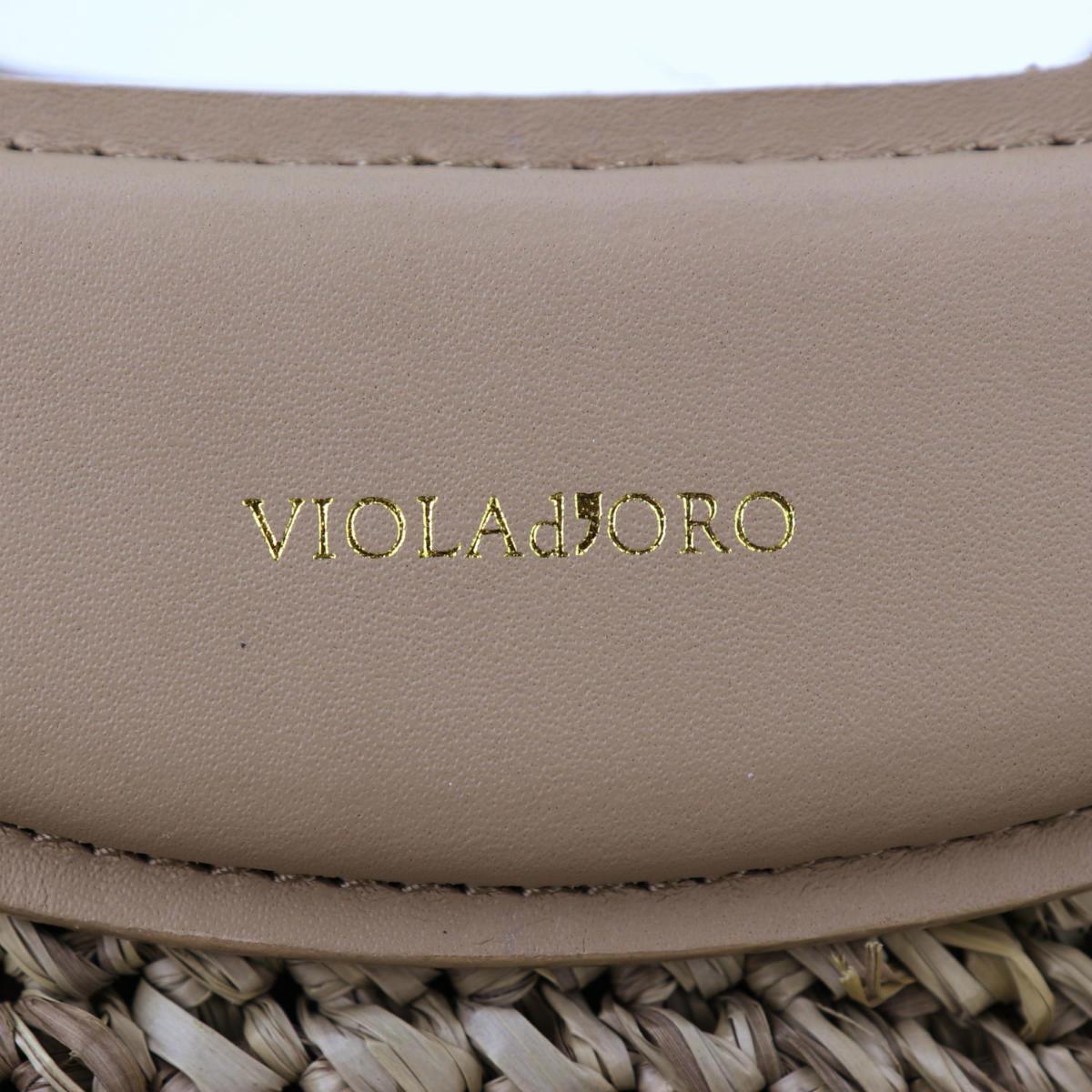ヴィオラドーロ VIOLAd'ORO レディース ラフィア レザー 2WAY ハンドバッグ SANDRO V-8429 VLD(ベージュ) 春夏新作
