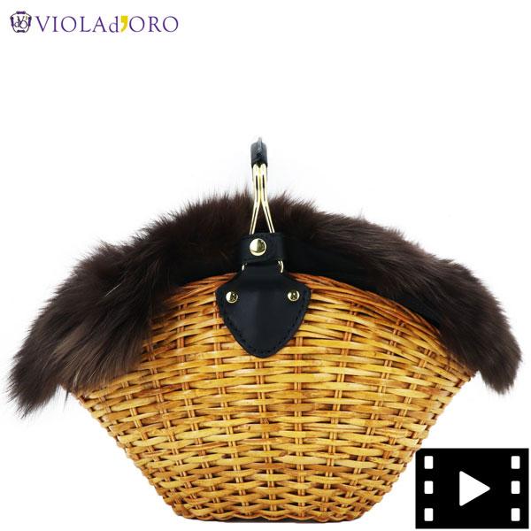 ヴィオラドーロ VIOLAd'ORO レディース スプリットラタン フォックスファー ハンドバッグ VOLPE V-8155 VLD CAMEL&BROWN(ブラウン)秋冬新作