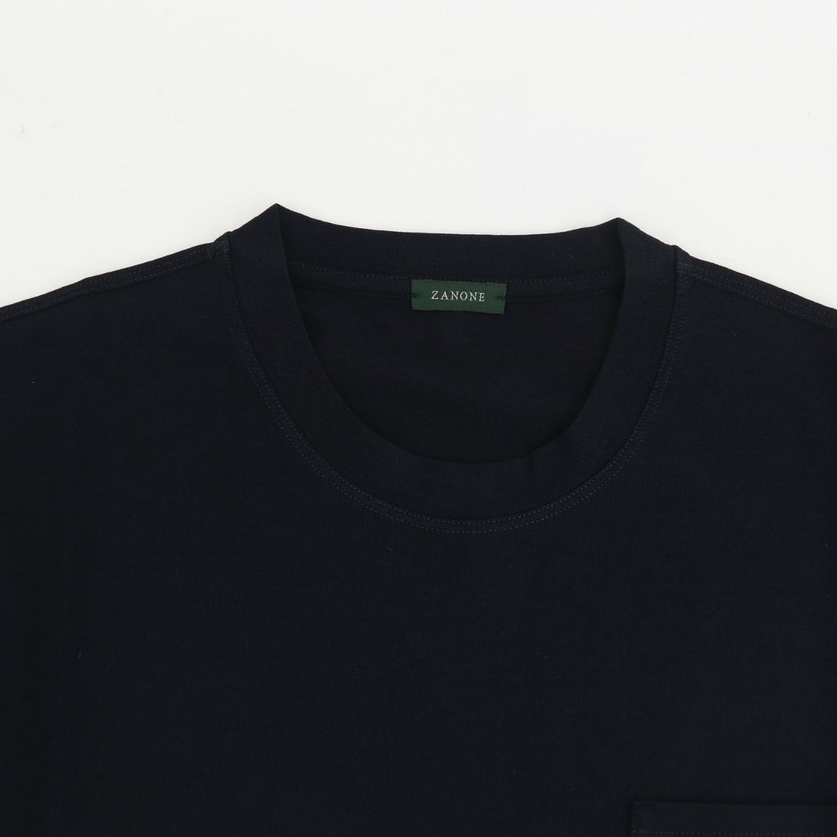 ザノーネ ZANONE メンズ アイスコットン クルーネック ポケットTシャツ レギュラーフィット T-SHIRT MC ROUND NECK 812477 ZAN Z0380 Z0542(ネイビー) 春夏新作