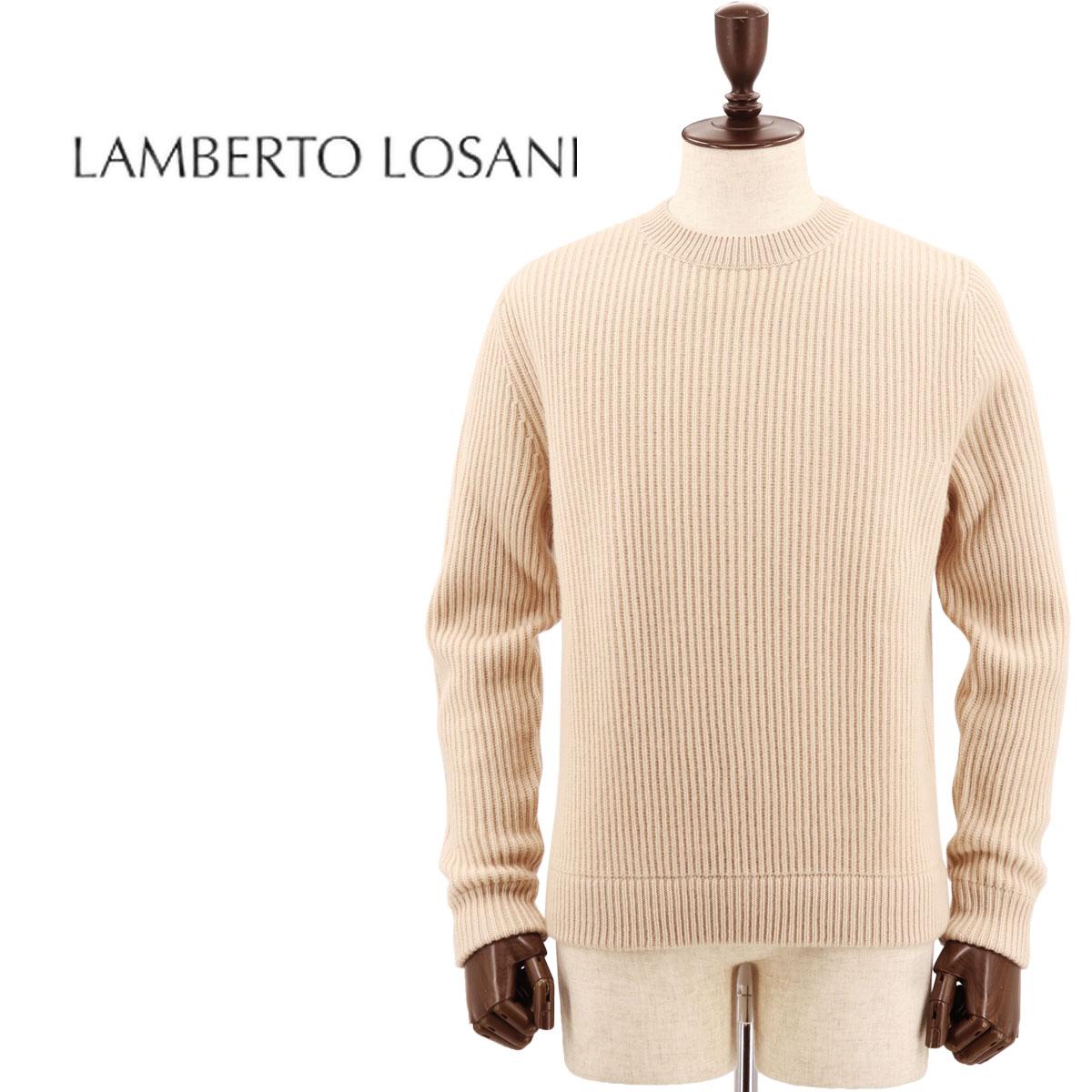 【クリアランスセール】ランベルト ロザーニ LAMBERTO LOSANI メンズ カシミヤ クルーネック ニットセーター H288096/323 (ライトベージュ)【返品交換不可】