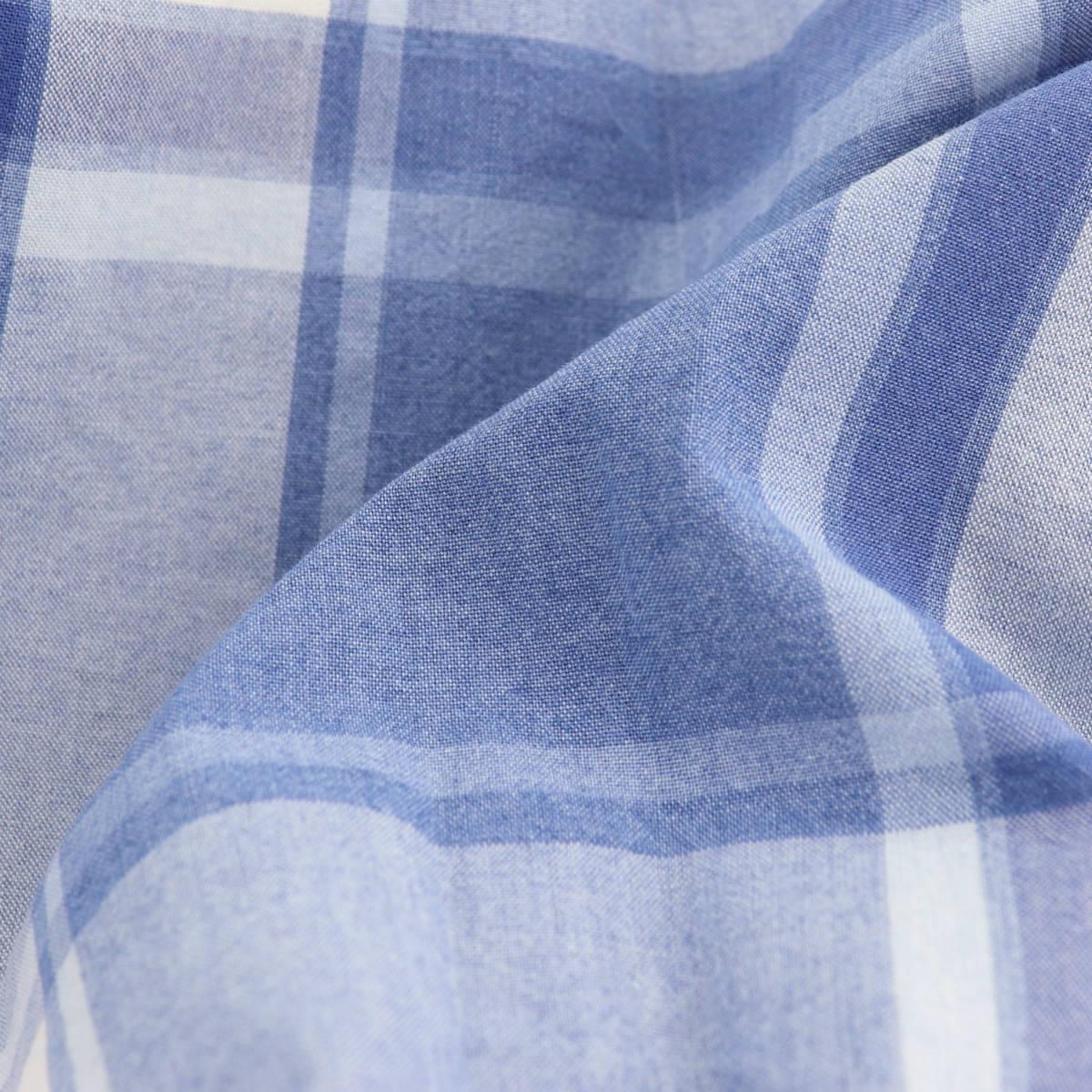ジャンネット GIANNETTO メンズ ヴィンチフィット チェック柄 カッタウェイ コットンシャツ VINCI FIT BLEACH 1103-395000V84 GNT B002(ブルー) 春夏新作