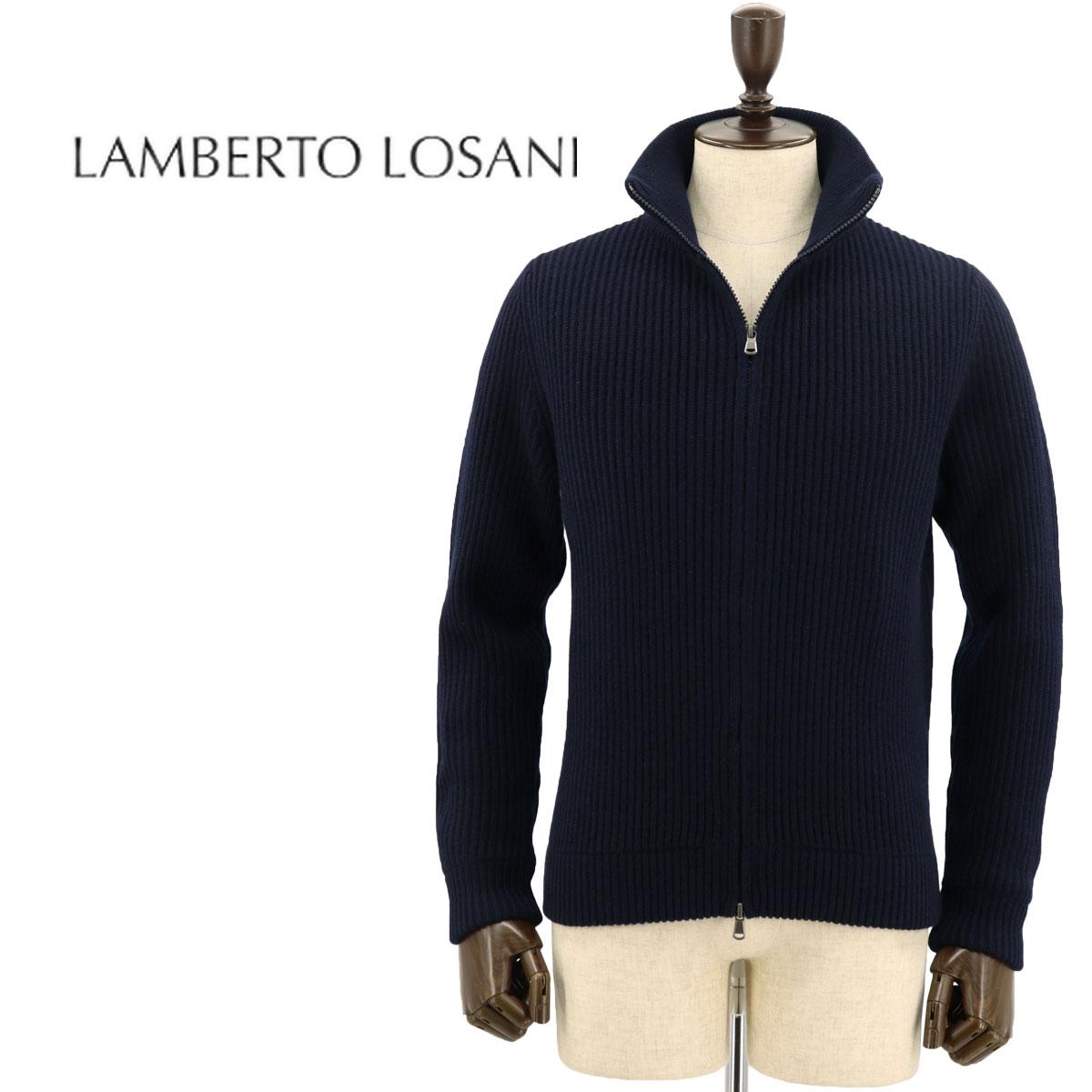 【クリアランスセール】ランベルト ロザーニ LAMBERTO LOSANI メンズ カシミヤ ジップアップ カーディガン H288095/616(ネイビー)【返品交換不可】