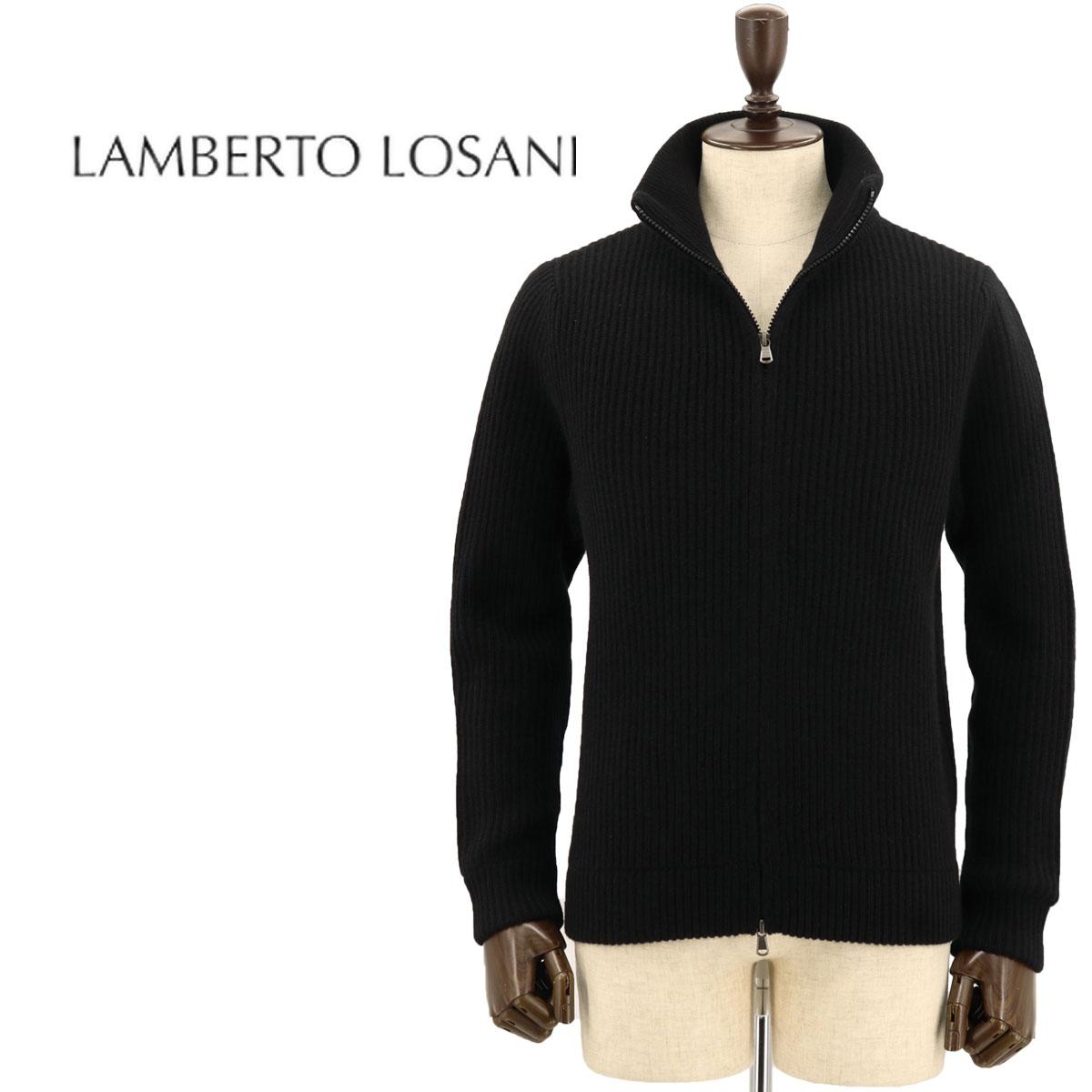 【クリアランスセール】ランベルト ロザーニ LAMBERTO LOSANI メンズ カシミヤ ジップアップ カーディガン H288095/901 (ブラック)【返品交換不可】