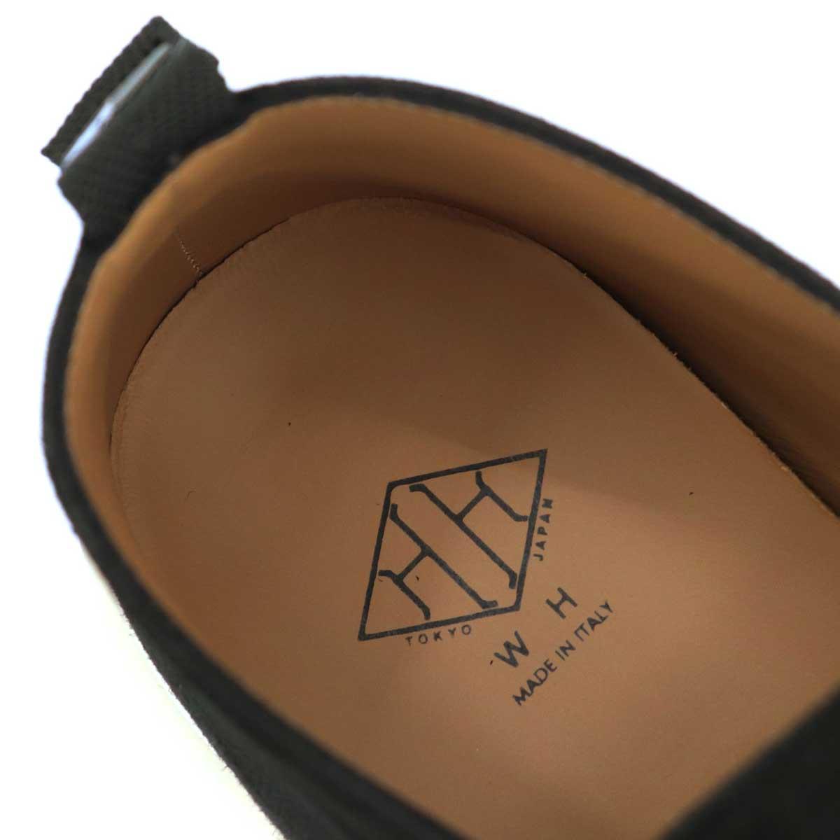 ダブルエイチ WH メンズ イタリア製 外羽根式 プレーントゥ ゴートスキン スエードシューズ ITWH-0001 BLK(ブラック)秋冬新作