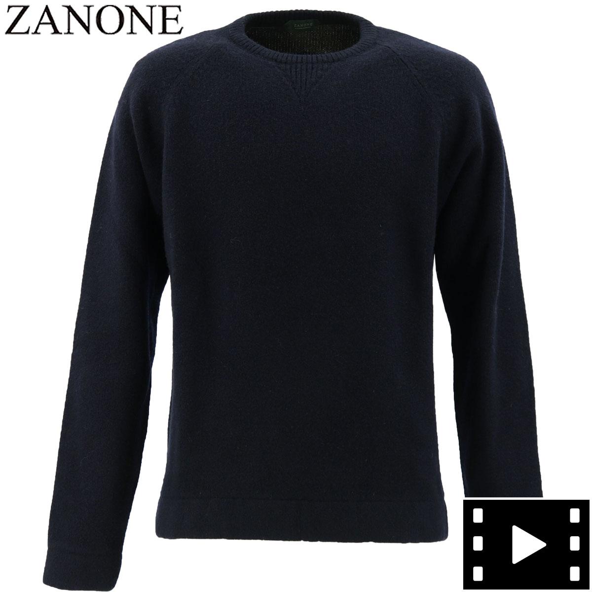 【クリアランスセール】ザノーネ ZANONE メンズ ラグランスリーブ クルーネックセーター GIRO RAG 812463 ZM253 Z1375 (ネイビー)【返品交換不可】