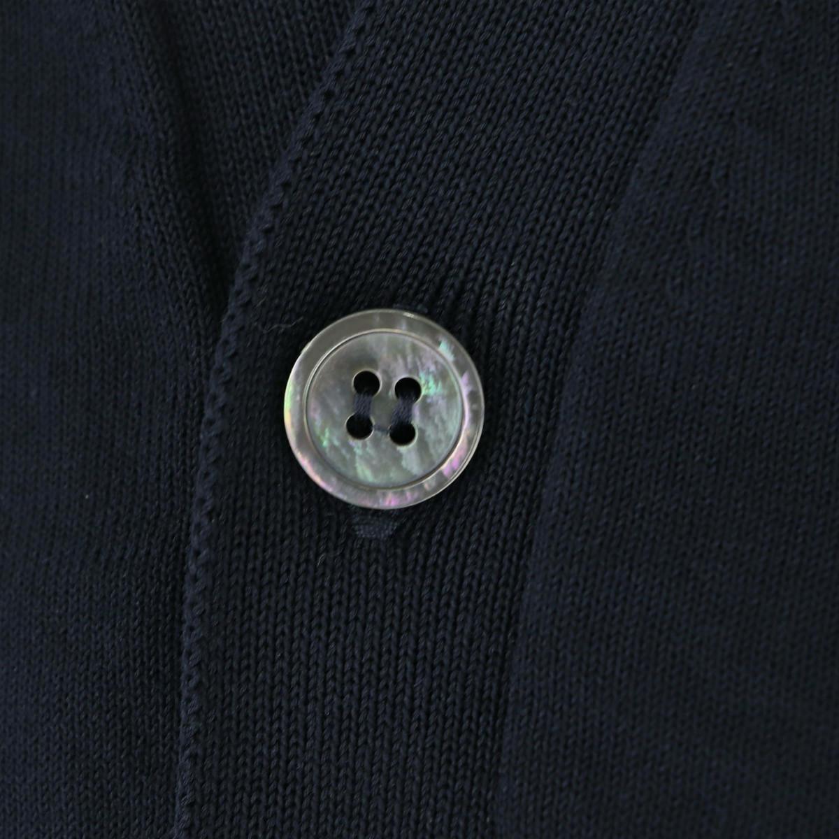 フィリッポ デ ローレンティス FILIPPO DE LAURENTIIS メンズ クレープコットン ハイゲージ サマーニットカーディガン 1110-CB11ML06 FDL 0890(ネイビー) 春夏新作