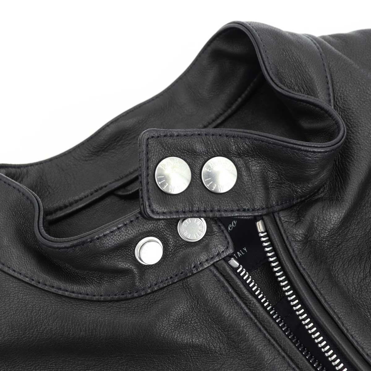 エンメティ EMMETI 干場義雅氏コラボモデル メンズ 0.9mm厚 ラムスキン ナッパレザー シングルライダースジャケット H UOMO EMT アッカ ウオモ NERO 190/1(ブラック)