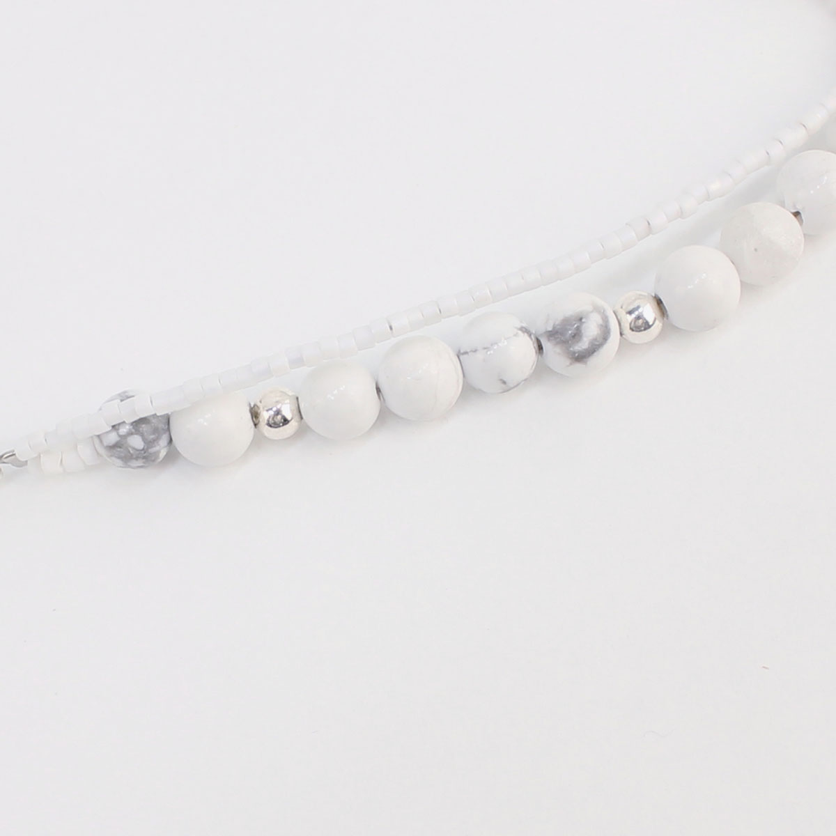 POLPETTA ポルペッタ ハウライト シルバー925 2連ブレスレット STONE BRACELET 001 WHITE-POL (ホワイト)