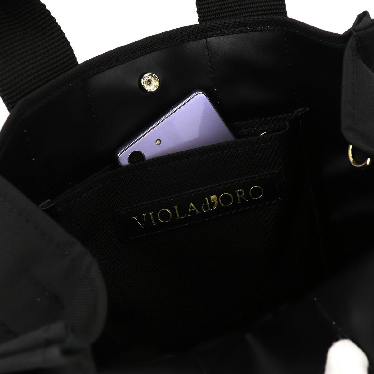 ヴィオラドーロ VIOLAd'ORO レディース ナイロン 2WAY ハンドバッグ V-2112 GINO ジーノ VLD BLACK×GOLD(ブラック×ゴールド) 春夏新作