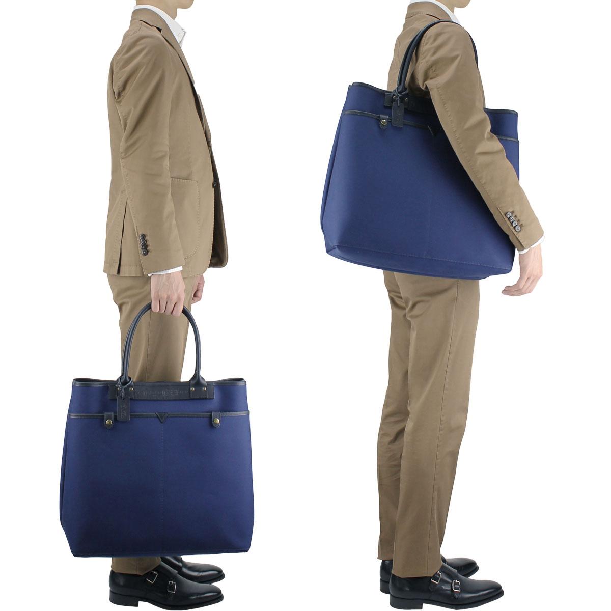 【決算セール】フェリージ Felisi コットンキャンバス×レザー トートバッグ L 17/17/AM+A BLUE 008×BLUE 006 (ネイビー×ネイビー)【返品交換不可】