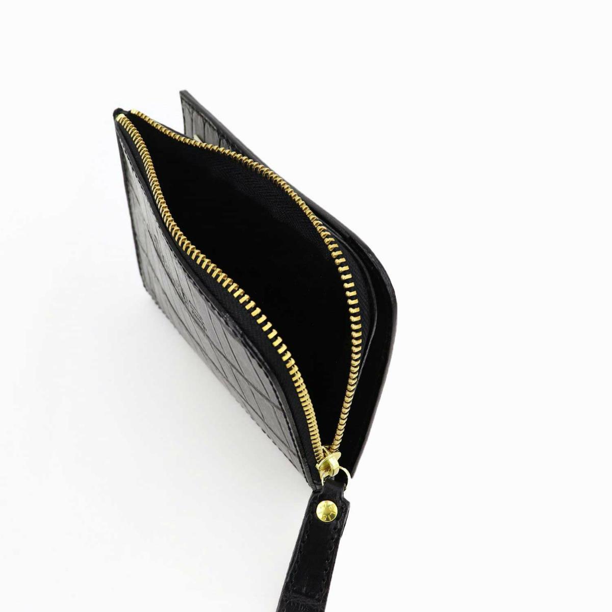 フェリージ Felisi クロコダイル型押し エンボスレザー L字ジップ 2つ折り財布 1058/SA FLS BLACK(ブラック)春夏新作