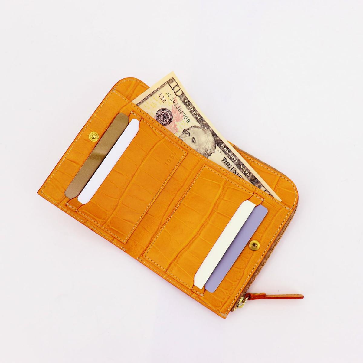 フェリージ Felisi クロコダイル型押し エンボスレザー L字ジップ 2つ折り財布 1058/SA FLS MANGO(オレンジ)春夏新作