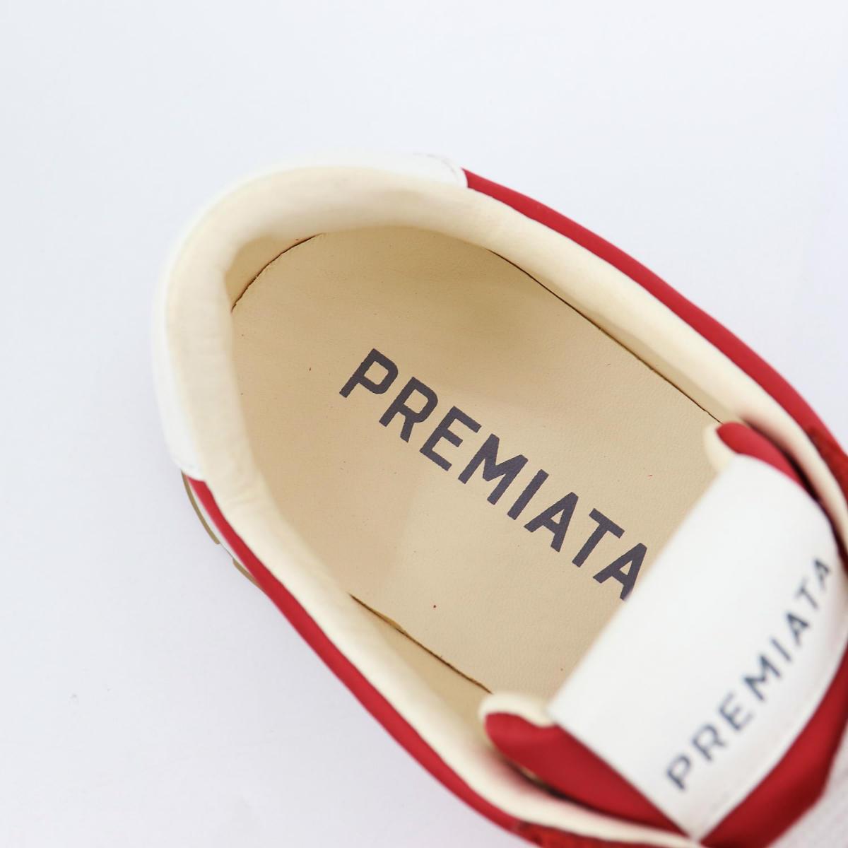 プレミアータホワイト PREMIATA WHITE メンズ ナイロン スエード ローカットスニーカー JOHN LOW PRH RED(レッド) 春夏新作