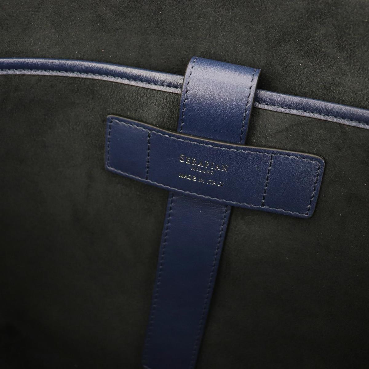 セラピアン SERAPIAN PVC型押し ブリーフケース SLIM BRIEFCASE Stepan STEP6929-M40 BM5 Black/Cosmic Blue(ネイビー)