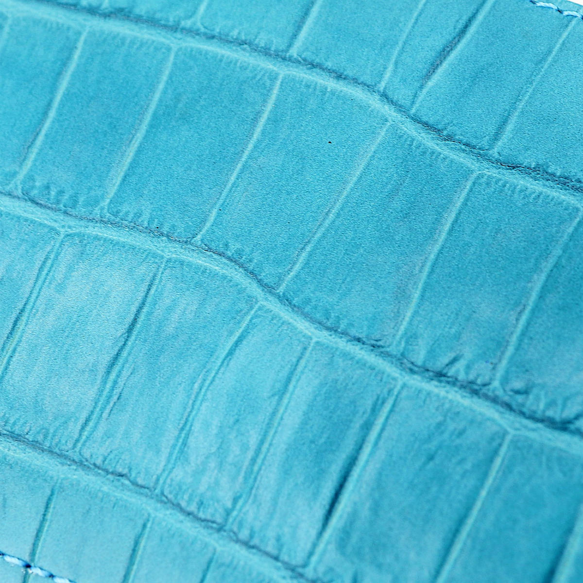 フェリージ Felisi クロコダイル型押し エンボスレザー L字ジップ 2つ折り財布 1058/SA FLS L.BLUE(ライトブルー)春夏新作