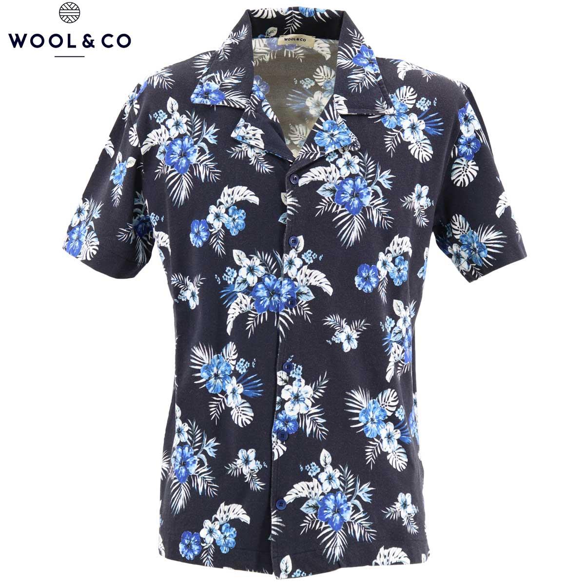 【クリアランスセール】ウールアンドコ WOOL&CO メンズ コットン 鹿の子 半袖 花柄 アロハシャツ WO2285 228-14427 69(ネイビー)【返品交換不可】