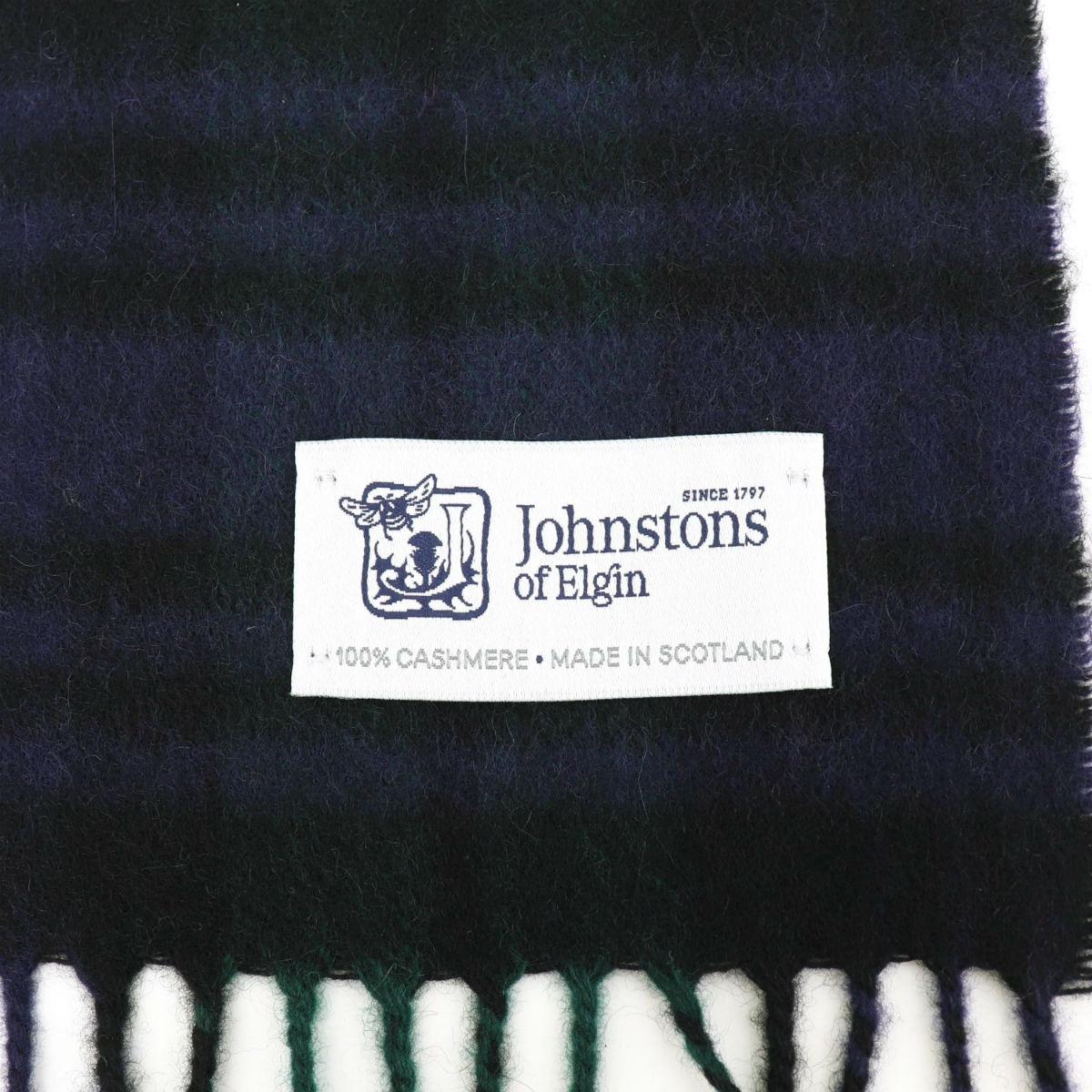 2020-21年秋冬新作 国内正規品 JOHNSTONS ジョンストンズ カシミア100% チェック柄マフラー WA000016 KU0317(グリーン)