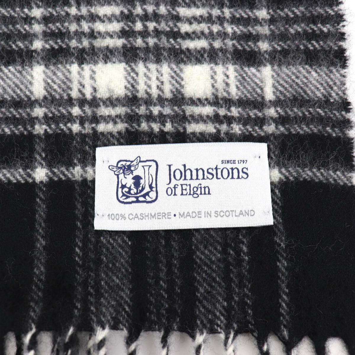 2020-21年秋冬新作 国内正規品 JOHNSTONS ジョンストンズ カシミア100% チェック柄マフラー WA000016 KU0079(ブラック)