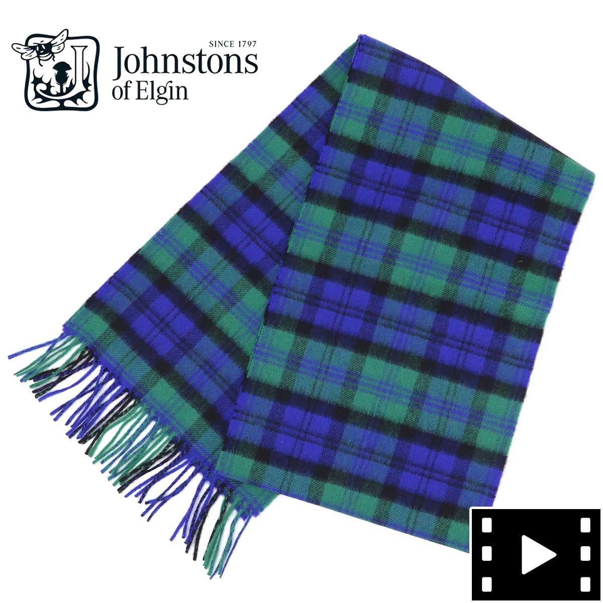 2020-21年秋冬新作 国内正規品 JOHNSTONS ジョンストンズ カシミア100% チェック柄マフラー WA000016 KU0098(グリーン)