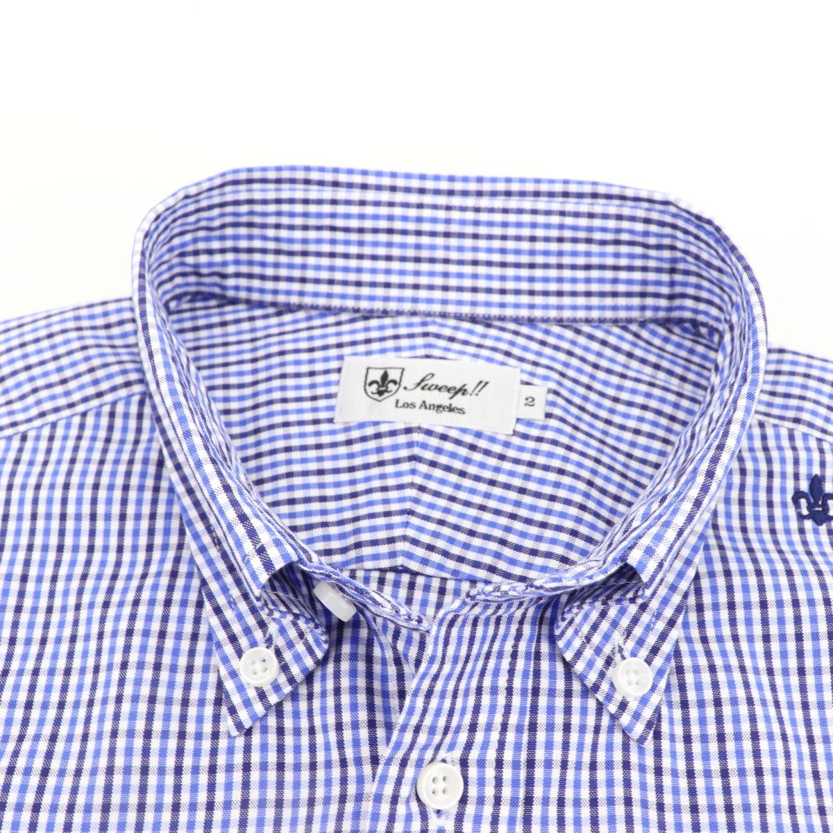 スウィープ ロサンゼルス Sweep!! LosAngeles メンズ ピンオックスフォード ギンガムチェック ボタンダウンシャツ SL130008  SWP BLUE×NAVY(ブルー×ネイビー) 春夏新作