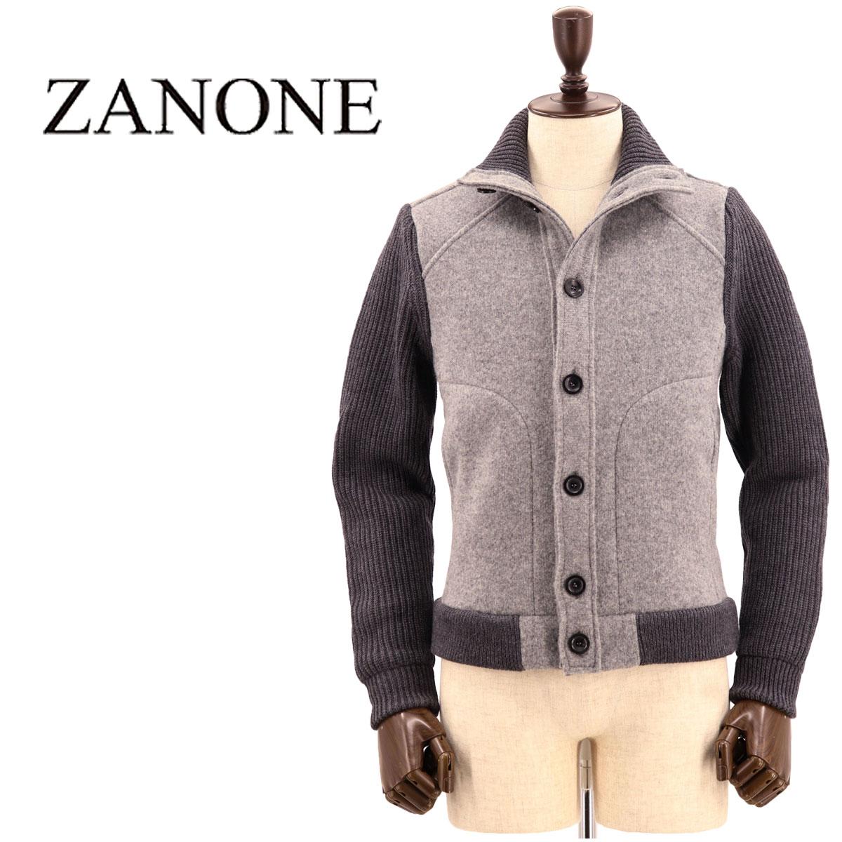 【クリアランスセール 半額以下】ザノーネ ZANONE メンズ ヴァージンウール ニットブルゾン 812142 ZJ284 Z2512(グレー)【返品交換不可】