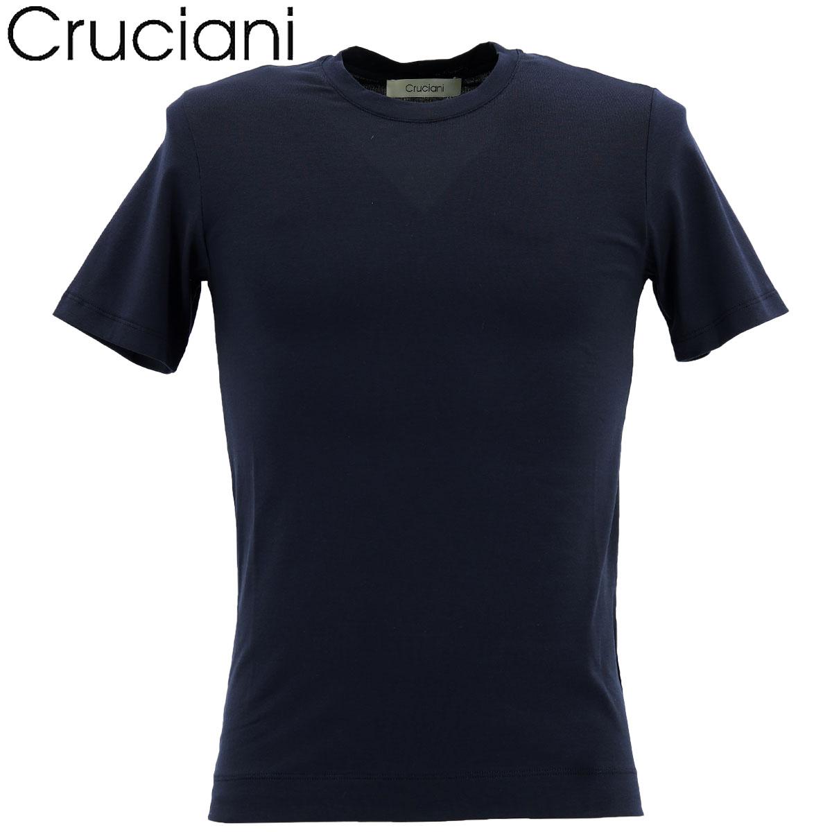 【クリアランスセール】クルチアーニ CRUCIANI メンズ コットン クルーネック 半袖 Tシャツ JU1302/10973(ネイビー)【返品交換不可】