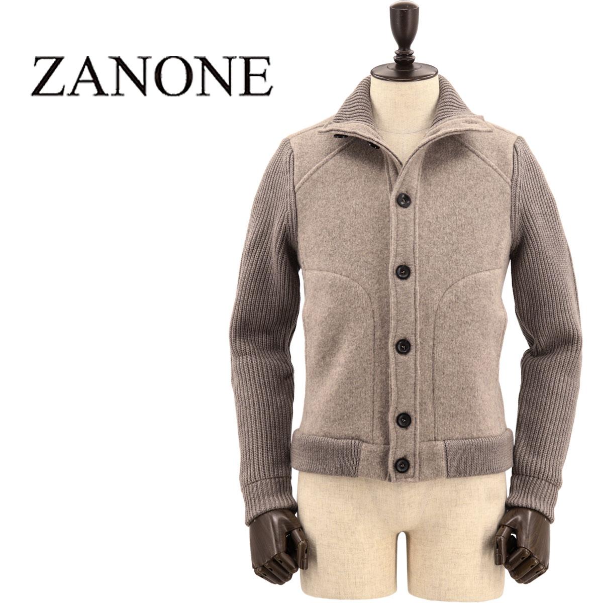 【クリアランスセール 半額以下】ザノーネ ZANONE メンズ ヴァージンウール ニットブルゾン 812142 ZJ284 Z5245(ベージュ)【返品交換不可】
