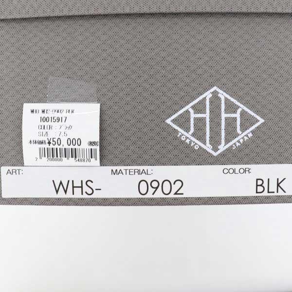 ダブルエイチ WH メンズ カーフレザー プレーントゥ シングルモンクシューズ 干場氏別注モデル WHS-0902 BLK(ブラック)