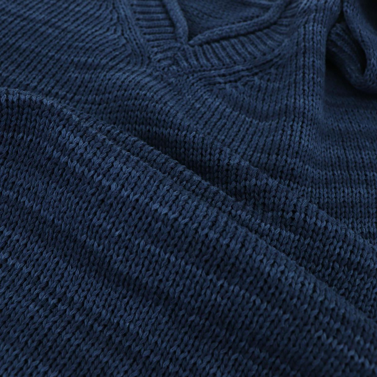リナシェンテ RINASCENTE メンズ コットン ミドルゲージ Vネックサマーニットセーター 60205 RST(ネイビー) 春夏新作