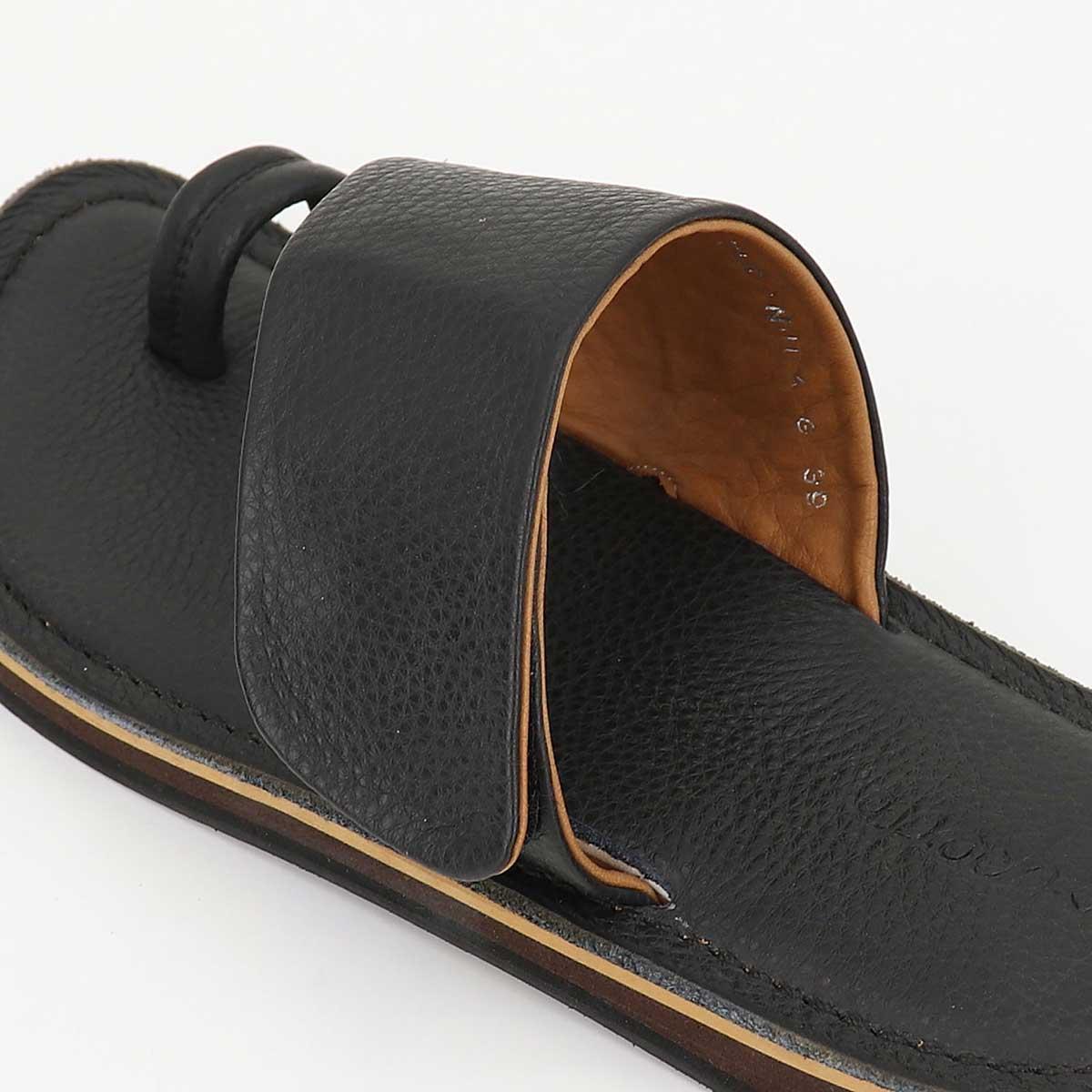 【動画付き】2020年春夏新作 POLPETTA ポルペッタ メンズ グレインレザー サンダル TUBO NUDA-G BLACK (ブラック)