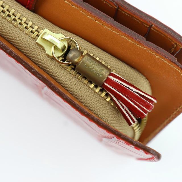 フェリージ Felisi クロコダイル型押し エンボスレザー 縦型 2つ折り財布 758/SA RED(レッド)