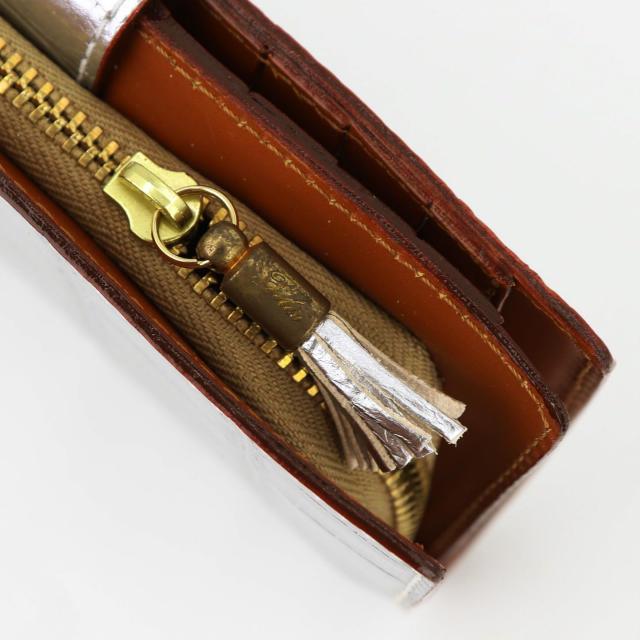 フェリージ Felisi クロコダイル型押し エンボスレザー 縦型 2つ折り財布 758/SA SILVER(シルバー)