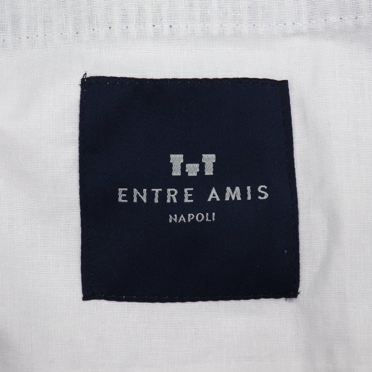 アントレアミ ENTRE AMIS メンズ リネン混コットン シアサッカー ストライプテーパードパンツ P21-JAPAN2 ENT 1908 4002(ホワイト×ネイビー) 春夏新作