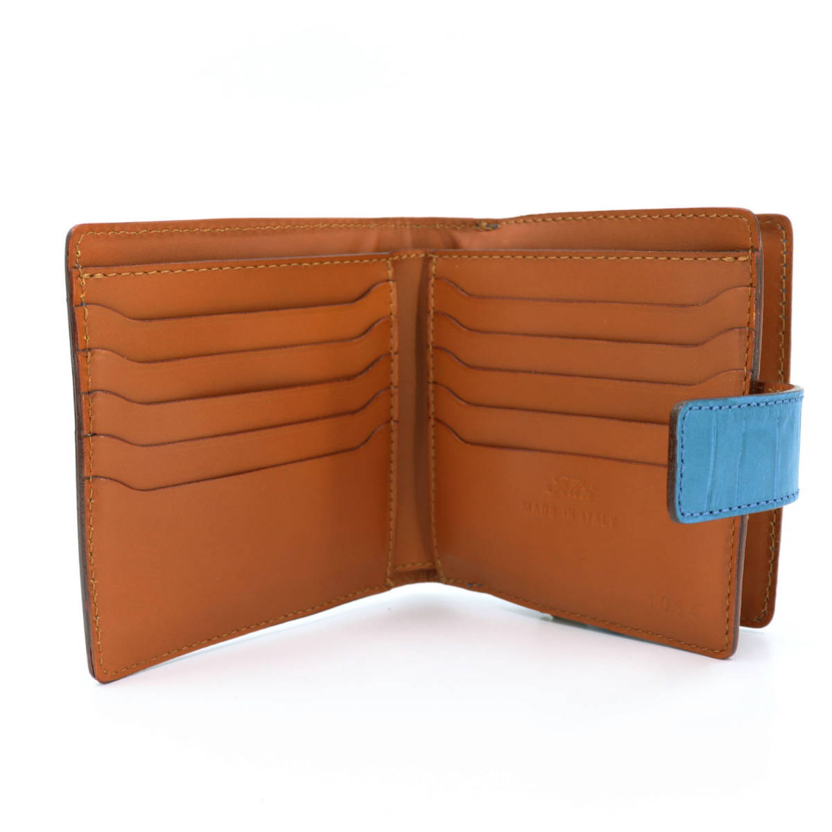 フェリージ Felisi クロコダイル型押し エンボスレザー 横型 2つ折り財布 1064/SA BLUE(ブルー)