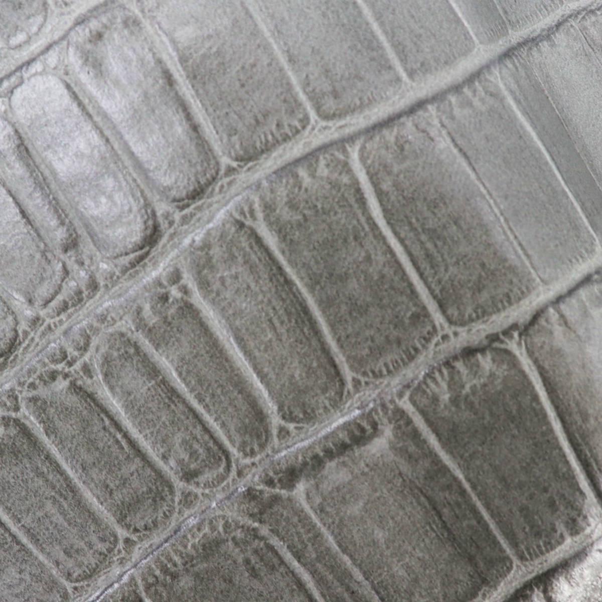 フェリージ Felisi クロコダイル型押し エンボスレザー 横型 2つ折り財布 1064/SA GREY(グレー)