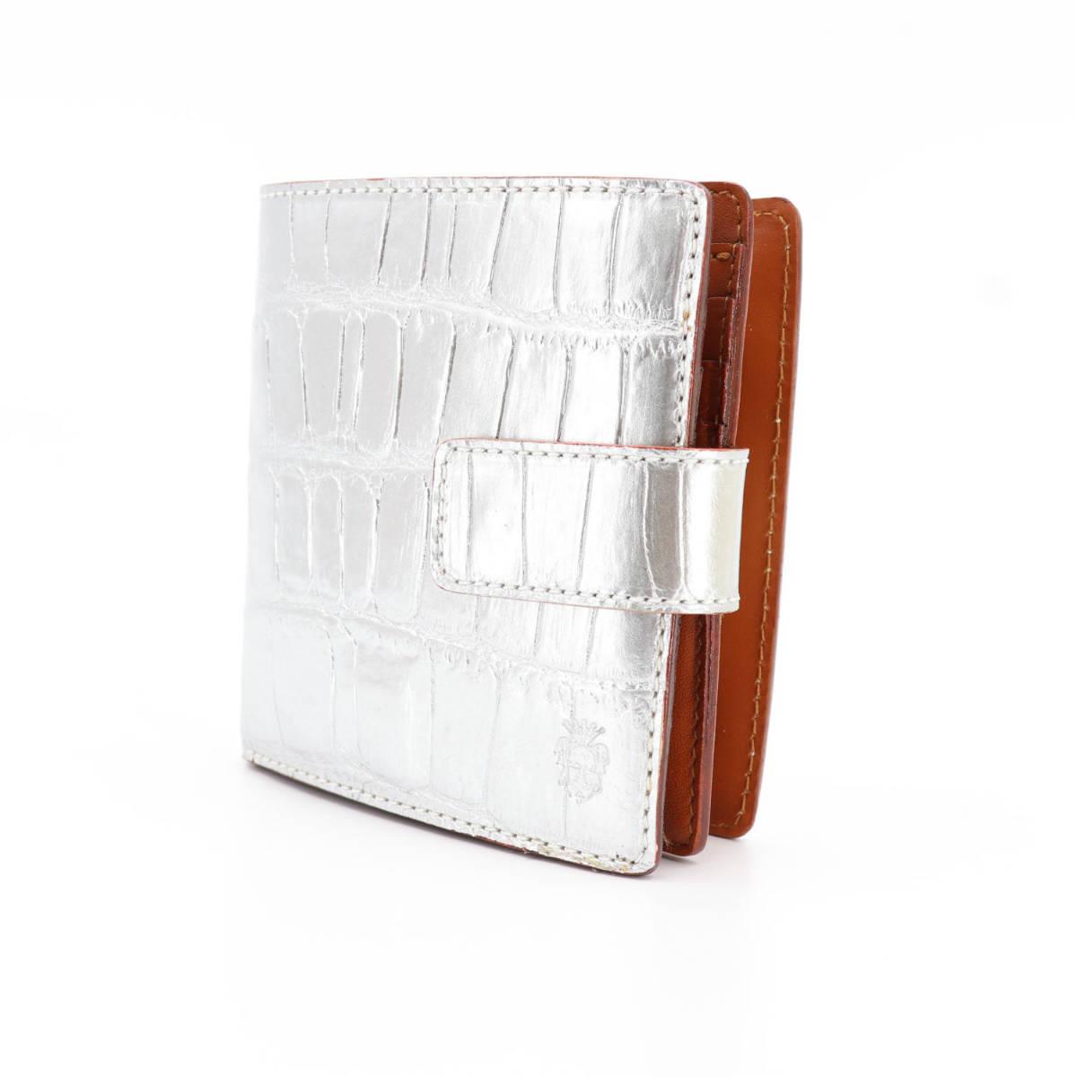 フェリージ Felisi クロコダイル型押し エンボスレザー 横型 2つ折り財布 1064/SA SILVER(シルバー)