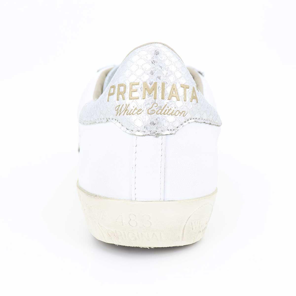 プレミアータホワイト PREMIATA WHITE メンズ レザー ローカットスニーカー STEVEN 4717 WH/SV(ホワイト×シルバー)