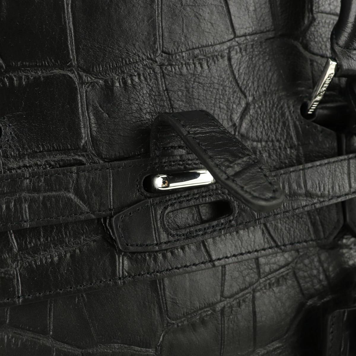 ペッレモルビダ PELLE MORBIDA クロコ型押し シュリンクレザー 被せ付 ボストンバッグ Lサイズ PMO-MB025ELE PMO BLK(ブラック)秋冬新作