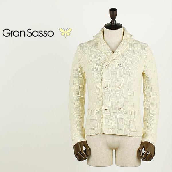 【決算売尽しセール】グランサッソ GRANSASSO メンズ 6B チェック ダブルニットジャケット 10128/13931 (オフホワイト)【返品交換不可】