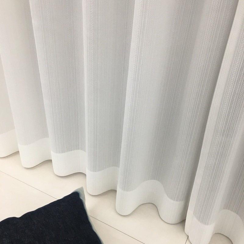 \お値段重視/ストライプ柄・リーズナブルな昼夜ミラーレースカーテン【シザール WH】ホワイト