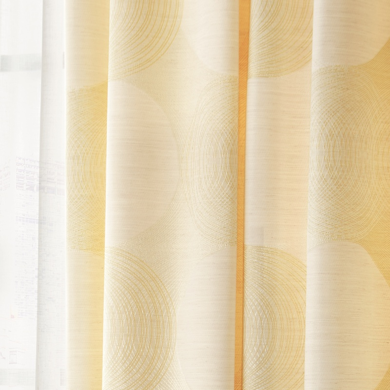 ●新商品7月末まで10%オフ<防炎>パステルカラーと線画で優しい雰囲気のサークル柄。日光をお部屋にとりこむカーテン【SI パトーク YE】イエロー S3126